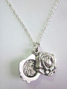 "St Michael /Guardian Angel Locket Style Rose Slide Medal Pendant 20"" Chain"