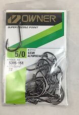 OWNER Super Needle Point Hooks BLACK SSW 5315-151  #5/0 Qty 22 NEW