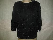 BONNIE & BILL BY HOLLY BLACK LUREX SWEATER FRINGE WITH  BEADS SZ M NWOT