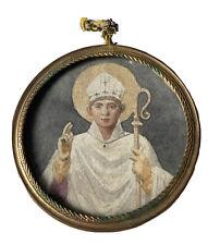 Miniature Peinte Évêque Mitre Crosse Barcelone Catalogne Religion Époque XIX ème