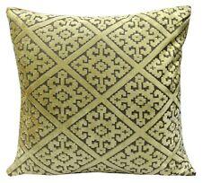 "Cushions set of 4 Large Cushion covers velour velvet Damask diamond Gold 21""x21"""