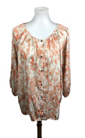 Chicos Women's Size 3 XL Floral Printed Tunic Top Button Down Blouse Scoop Neck