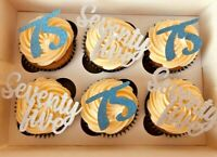 Cupcake Toppers any age words numbers Glitter cake topper x 6