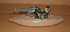"1/18 Scale Army Kayak Machine Gun Boat Plastic Model + 3.75"" Action Figure Camo"