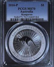 2016-P Australia $1 1 Oz .999 Silver Kangaroo PCGS MS70 Australian