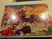 VTG Antique Victory Jig Saw Plywood Puzzle  Ambush Adventure Series