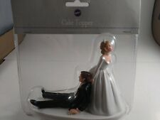 Wedding Cake Topper Funny Bride Drags Groom To Get Hitched Cake Top
