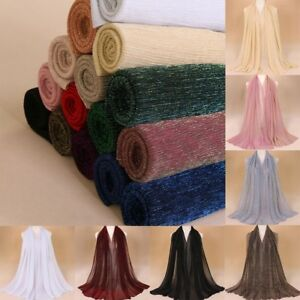 New Soft Scarf Pleated Shimmer Elastic Long Crinkle Hijab Shawls Head Wrap Cover