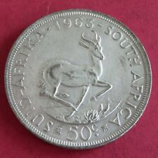 SOUTH AFRICA 1963 SPRINGBOK SILVER 50 CENT CROWN