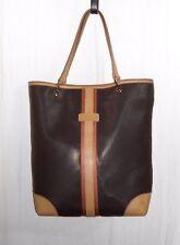 LONGCHAMP sac à main cabas toile enduite brun foncé garniture cuir