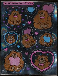 Bubble Gum BEARS Foil Trend Scratch Sniff Sticker Sheet T-1267 1984 Last 1