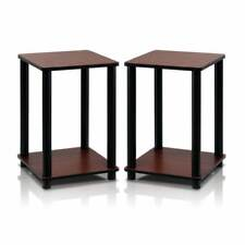 Dark Cherry End Table Furniture Corner Shelves Set of 2 Living Room Sofa Couch