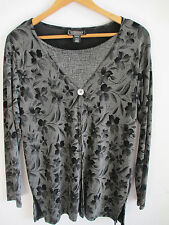 womens twin knit top M crewneck IMPRESSIONS jersey gray floral stretch blouse