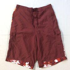 Covington Burgundy Mesh Lined Polyester Swim Shorts Trunks Men's Medium M 32/34