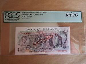 BANK  OF  IRELAND £1 SPECIMEN  NOTE, 1972. UNCIRCULATED