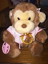 "1985 9"" Monkey Plush w/Shirt, Hairbows, Pacifier- Baby Things- Dakin"