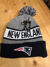 New England patriots Beanie Winter  Hat Scull Cap Blue and Gray  With Pom Pom