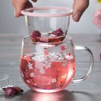 Sakura floral heat resistant Borosilicate glass Tea filter cup Milk coffee mug