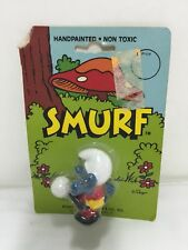 Vintage Smurf 1982 Soccer Player Plastic Toy Handpainted Sealed Package NOS