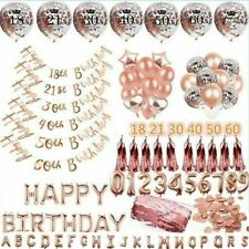 Rose Gold Happy Birthday Banner Balloons 16th/18/21st/30/40/50/60th Party Decor