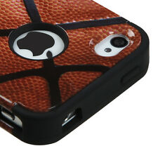 FOR APPLE IPHONE 4 4S BASKETBALL DESIGN TUFF 3-PIECE CASE IMPACT RUBBER COVER