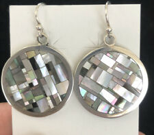 Native American Zuni Mother Of Pearl Inlaid Earrings In Sterling Silver