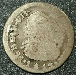 1813 Mexico Mint 1/2 Reale Milled Bust Ferdinand VII Foreign Silver Error Coin
