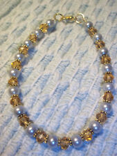 8 1/2 inch GREY Pearl and BROWN Crystal Bead Ankle Bracelet w/ GOLD spacers E-13