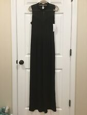 BCBGMAXAZRIA  Black Mesh Neckline Evening Dress With Side Slit Size S