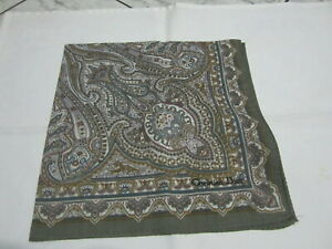 """USED GRAY & WHITE PAISLEY PATTERN COTTON 18"""" HANDKERCHIEF POCKET SQUARE FOR MEN"""