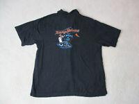 Tommy Bahama Hawaiian Shirt Adult Extra Large Black Blue King Of Cool Silk Mens