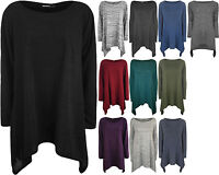 New Plus Size Womens Plain Long Sleeve Hanky Hem Ladies Knitted Swing Top 16-26