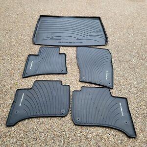Porsche Cayenne 958 OEM Genuine Black Rubber Floor Carpet Mat & Cargo Tray Cover