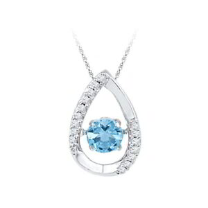 Blue Topaz & Natural Diamond Dancing Pendant 14k Gold Over 925 Sterling Silver