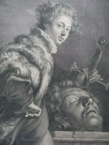 Portrait David with the Head of Goliath c1729 Engraving Jacques Chereau aft Feti