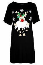 Womens Ladies Oversizes Xmas Gingerbread Hat Candy Christmas Baggy T Shirt Dress