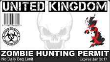 ZOMBIE PERMIT,  vinyl wall,car,van decal sticker
