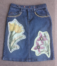 "Upcycled denim skirt 8 W 28"" applique embroidered floral mirror bead boho folk"