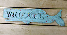 Whale Welcome Metal Sign Large Blue Fish Nautical Decor 20.4 In. New