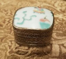 Antique Chinese Handmade Silver porcelain Box Ming or Ching Dynasty Bedford & Co
