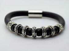 B266 Unique design black Pearls Black Round Rubber Magnetic fashion bracelet