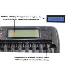 Rechargeable 8 Slot Fast Smart Charger for 1-8 AA/AAA NiMH batteries LCD display