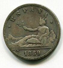 2 pesetas plata I REPUBLICA SN M  1869  * 18 , 69