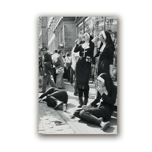Drinking and smoke Nuns Party Poster Black and White Photography Rebellious Nuns