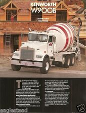 Truck Brochure - Kenworth - W900B - 1988 - Cement Mixer Chassis (TB80)