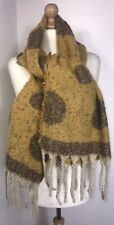 Mustard Scarf Pashmina Reversible Spotted  Fluffy Soft Warm Cosy Oversized NEW