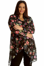 New Womens Plus Size Shirt Ladies A Line Floral Print Collared Button Top Blouse