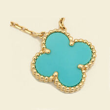 """New 18K Yellow Gold & Turquoise 1 Motif Clover Necklace Alhambra 16"""" Grad"""