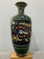 Antique Japanese Likely Meiji Period Large Cloisonne Vase w/ Floral Decoration