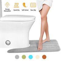 "24""x20"" U-Shaped Contour Toilet Bathroom Mat Velvet Non-Slip Rug Water Absorbent"